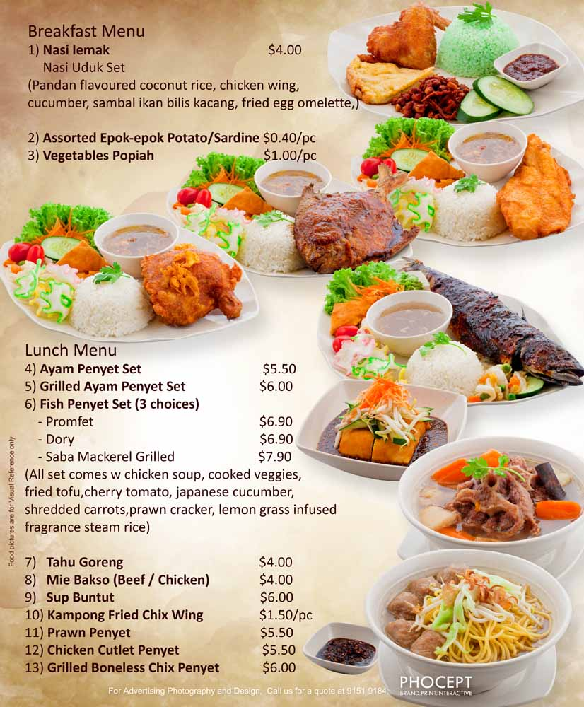 Rayyan Waroeng Penyet Day Menu 18in x 22in by Phocept - Singapore Food Signage
