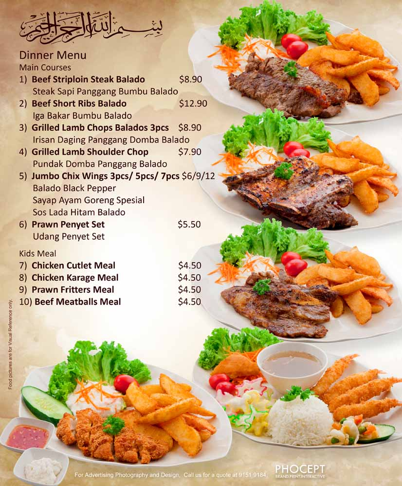 Rayyan Waroeng Penyet Night Menu 18in x 22in by Phocept - Singapore Food Signage